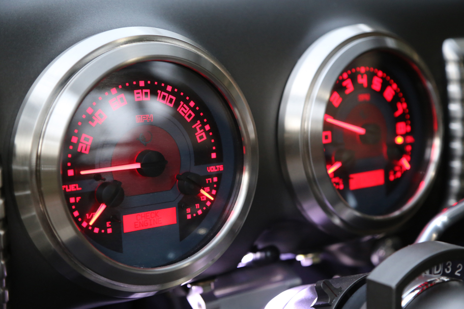Reliable American made Dakota gauges designed by ICON. MPH, RPM, oil pressure, fuel level, engine temperature and volts, plus LED system status display.