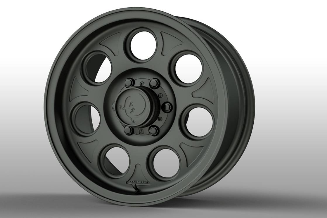 "Three choices of 18"" wheels. Shown here is the ICON forged aluminum wheel, made in California..."